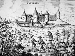 """Крепость Копорье. Гравюра из """"Путешествия"""" Адама Олеария"""