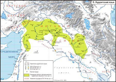 Распространение хурритского языка во II тыс. до н. э.