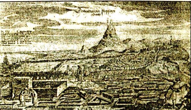 """ДЕРБЕНТ. Гравюра из """"Описания путешествия"""" А. Олеария. 1656 г."""