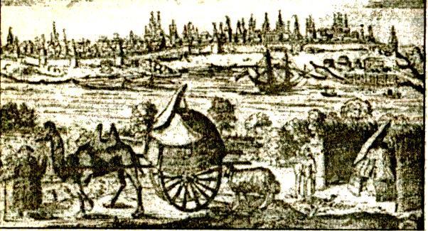 """Астрахань. Гравюра из """"Описания путешествия"""" А. Олеария. 1656 г."""