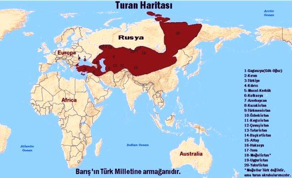 Территории на основе которых будет создан Великий Туран (Пантуран)