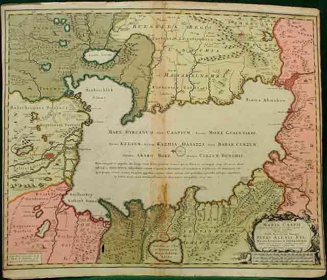 Карта Прикаспийских земель. 1723 г.
